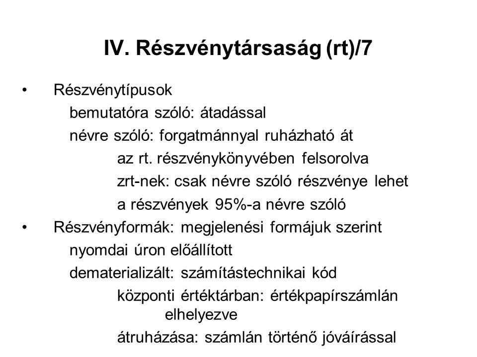IV. Részvénytársaság (rt)/7 Részvénytípusok bemutatóra szóló: átadással névre szóló: forgatmánnyal ruházható át az rt. részvénykönyvében felsorolva zr