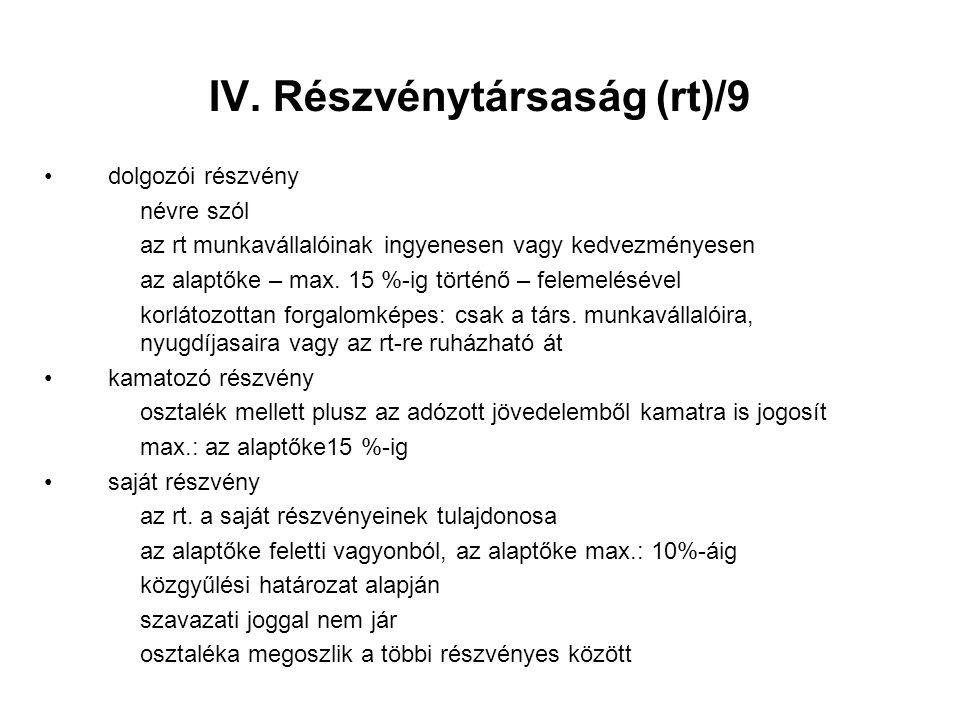 IV. Részvénytársaság (rt)/9 dolgozói részvény névre szól az rt munkavállalóinak ingyenesen vagy kedvezményesen az alaptőke – max. 15 %-ig történő – fe