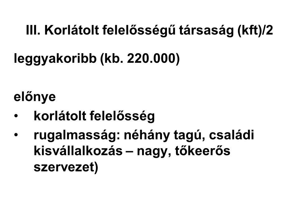 III. Korlátolt felelősségű társaság (kft)/2 leggyakoribb (kb. 220.000) előnye korlátolt felelősség rugalmasság: néhány tagú, családi kisvállalkozás –