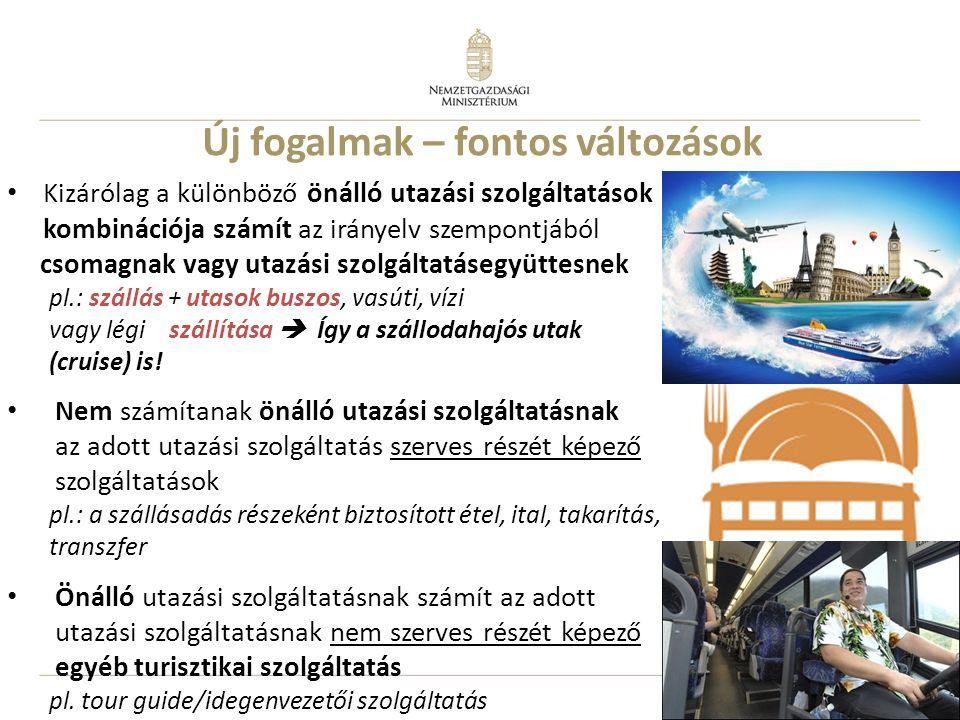 10 Kizárólag a különböző önálló utazási szolgáltatások kombinációja számít az irányelv szempontjából csomagnak vagy utazási szolgáltatásegyüttesnek pl.: szállás + utasok buszos, vasúti, vízi vagy légi szállítása  Így a szállodahajós utak (cruise) is.