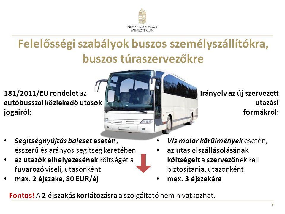 9 Felelősségi szabályok buszos személyszállítókra, buszos túraszervezőkre 181/2011/EU rendelet az autóbusszal közlekedő utasok jogairól: Segítségnyújtás baleset esetén, ésszerű és arányos segítség keretében az utazók elhelyezésének költségét a fuvarozó viseli, utasonként max.