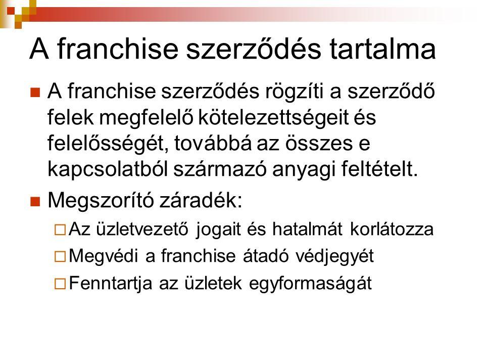 A franchise szerződés tartalma A franchise szerződés rögzíti a szerződő felek megfelelő kötelezettségeit és felelősségét, továbbá az összes e kapcsola