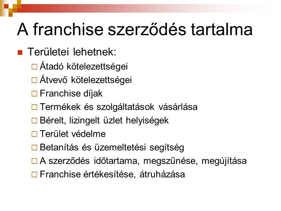 A franchise szerződés tartalma Területei lehetnek:  Átadó kötelezettségei  Átvevő kötelezettségei  Franchise díjak  Termékek és szolgáltatások vás