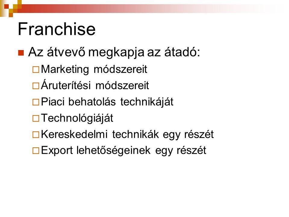 Franchise Az átvevő megkapja az átadó:  Marketing módszereit  Áruterítési módszereit  Piaci behatolás technikáját  Technológiáját  Kereskedelmi t