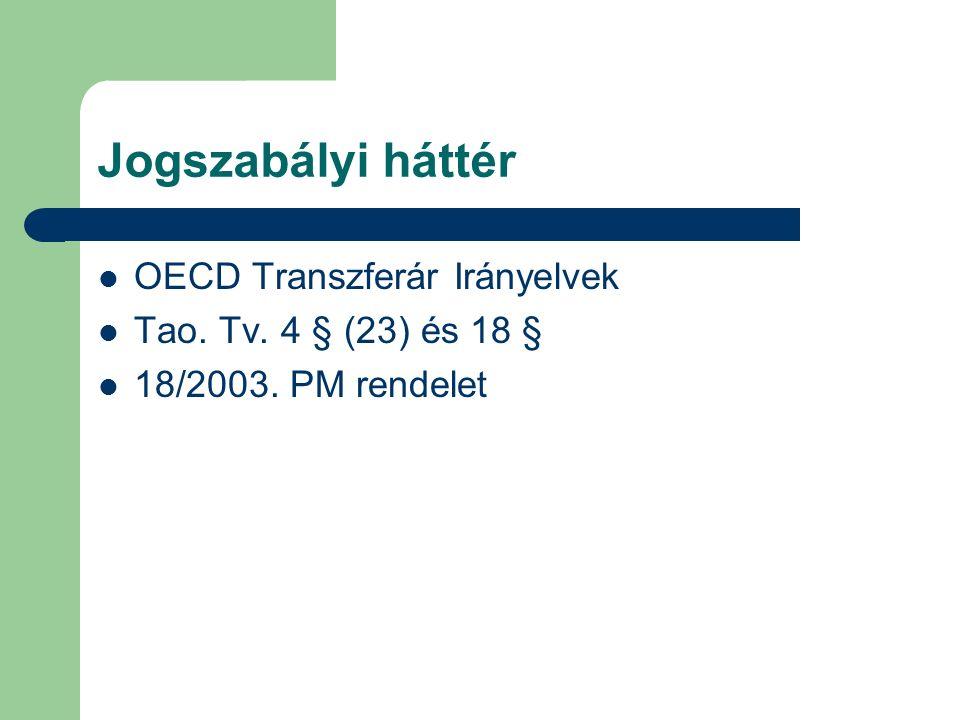 Jogszabályi háttér OECD Transzferár Irányelvek Tao. Tv. 4 § (23) és 18 § 18/2003. PM rendelet