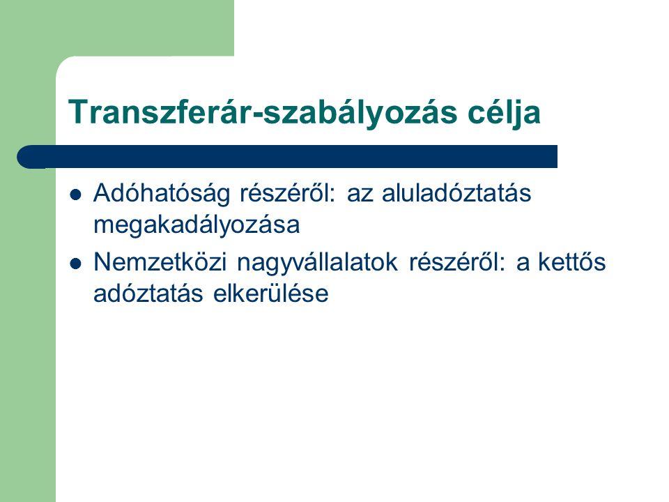 Transzferár-szabályozás célja Adóhatóság részéről: az aluladóztatás megakadályozása Nemzetközi nagyvállalatok részéről: a kettős adóztatás elkerülése