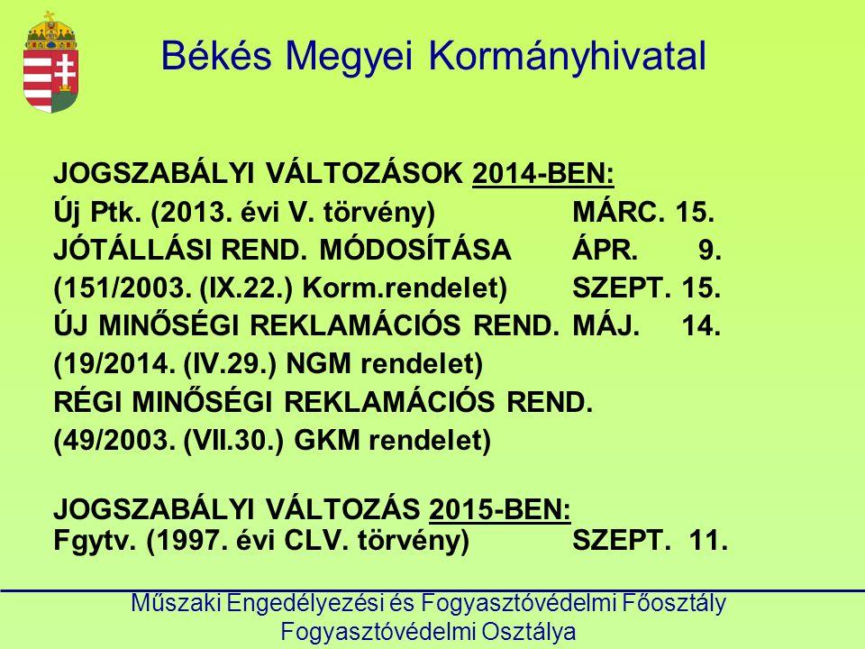 Békés Megyei Kormányhivatal Műszaki Engedélyezési és Fogyasztóvédelmi Főosztály Fogyasztóvédelmi Osztálya JOGSZABÁLYI VÁLTOZÁSOK 2014-BEN: Új Ptk.
