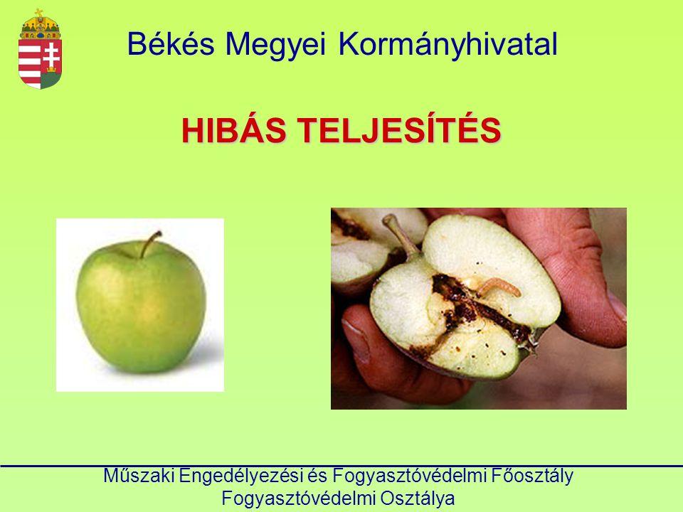 HIBÁS TELJESÍTÉS Békés Megyei Kormányhivatal Műszaki Engedélyezési és Fogyasztóvédelmi Főosztály Fogyasztóvédelmi Osztálya