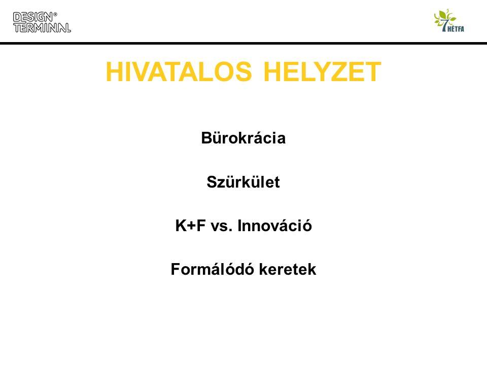 HIVATALOS HELYZET Bürokrácia Szürkület K+F vs. Innováció Formálódó keretek