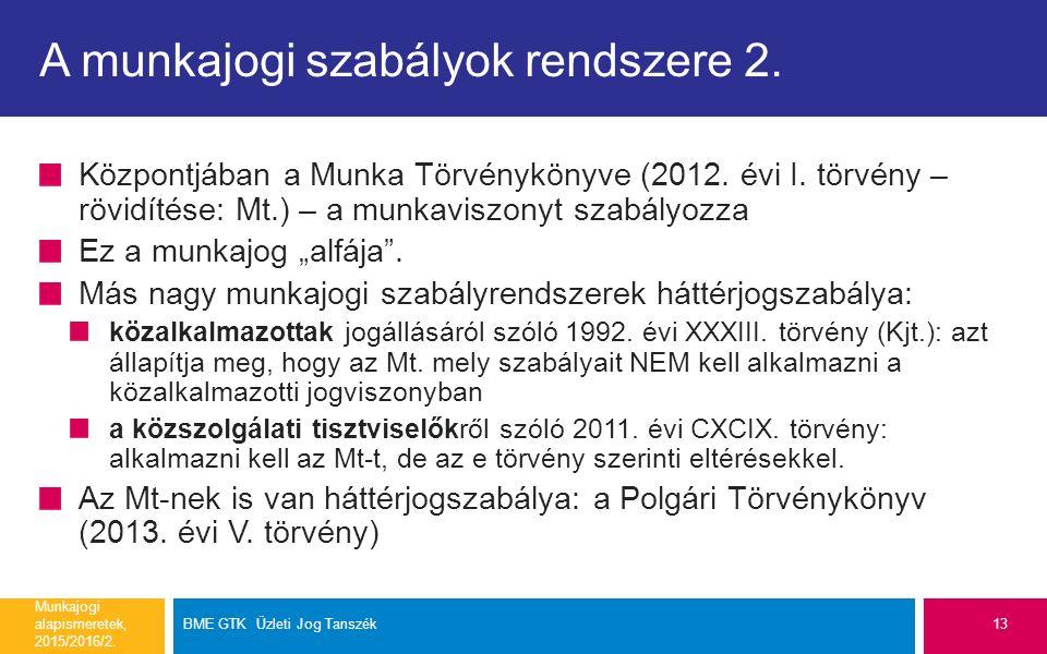 A munkajogi szabályok rendszere 2. Központjában a Munka Törvénykönyve (2012.