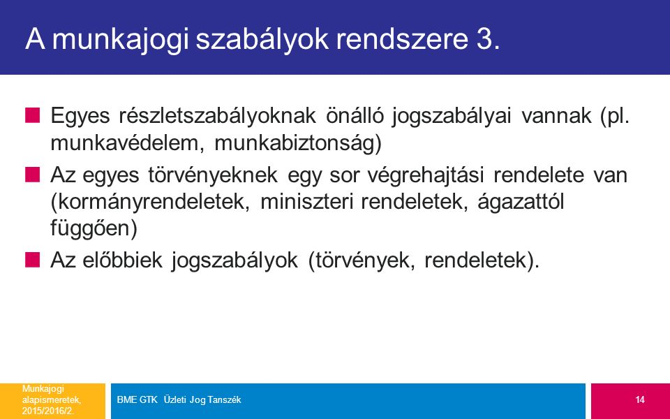 A munkajogi szabályok rendszere 3. Egyes részletszabályoknak önálló jogszabályai vannak (pl.