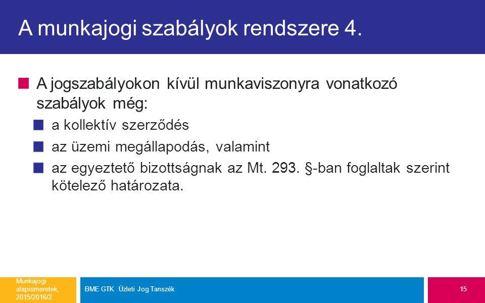 A munkajogi szabályok rendszere 4.