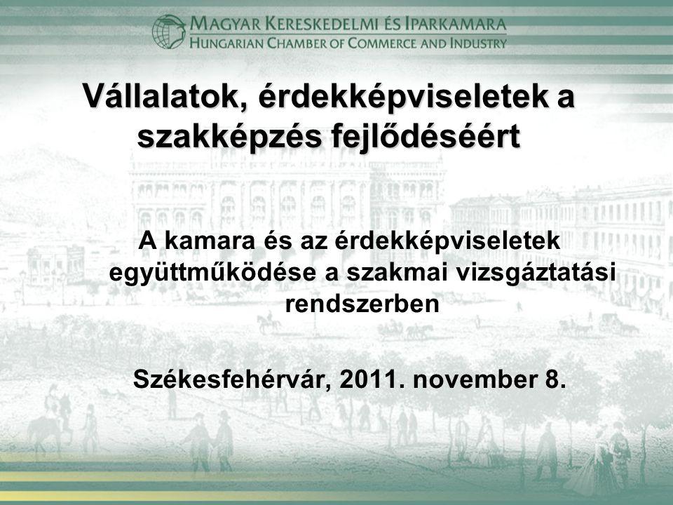 Vállalatok, érdekképviseletek a szakképzés fejlődéséért A kamara és az érdekképviseletek együttműködése a szakmai vizsgáztatási rendszerben Székesfehérvár, 2011.