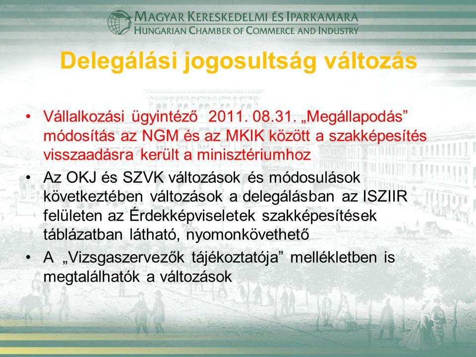 """Delegálási jogosultság változás Vállalkozási ügyintéző 2011. 08.31. """"Megállapodás"""" módosítás az NGM és az MKIK között a szakképesítés visszaadásra ker"""