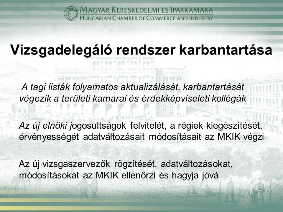 Vizsgadelegáló rendszer karbantartása A tagi listák folyamatos aktualizálását, karbantartását végezik a területi kamarai és érdekképviseleti kollégák