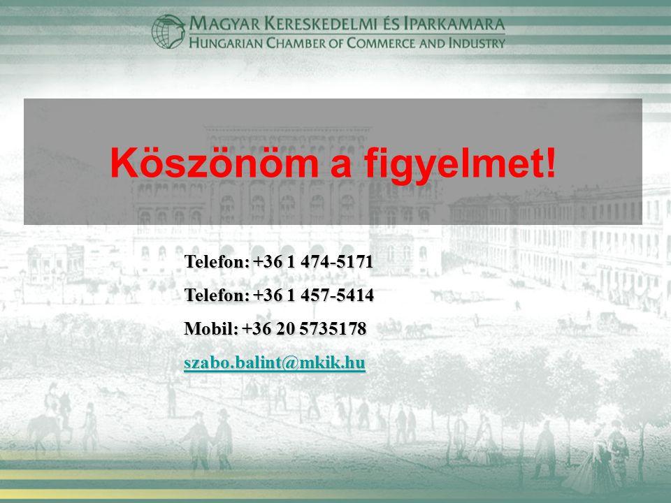 Köszönöm a figyelmet! Telefon: +36 1 474-5171 Telefon: +36 1 457-5414 Mobil: +36 20 5735178 szabo.balint@mkik.hu