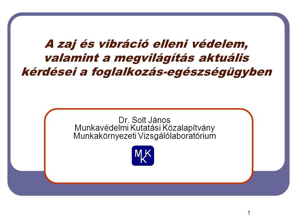 1 A zaj és vibráció elleni védelem, valamint a megvilágítás aktuális kérdései a foglalkozás-egészségügyben Dr.