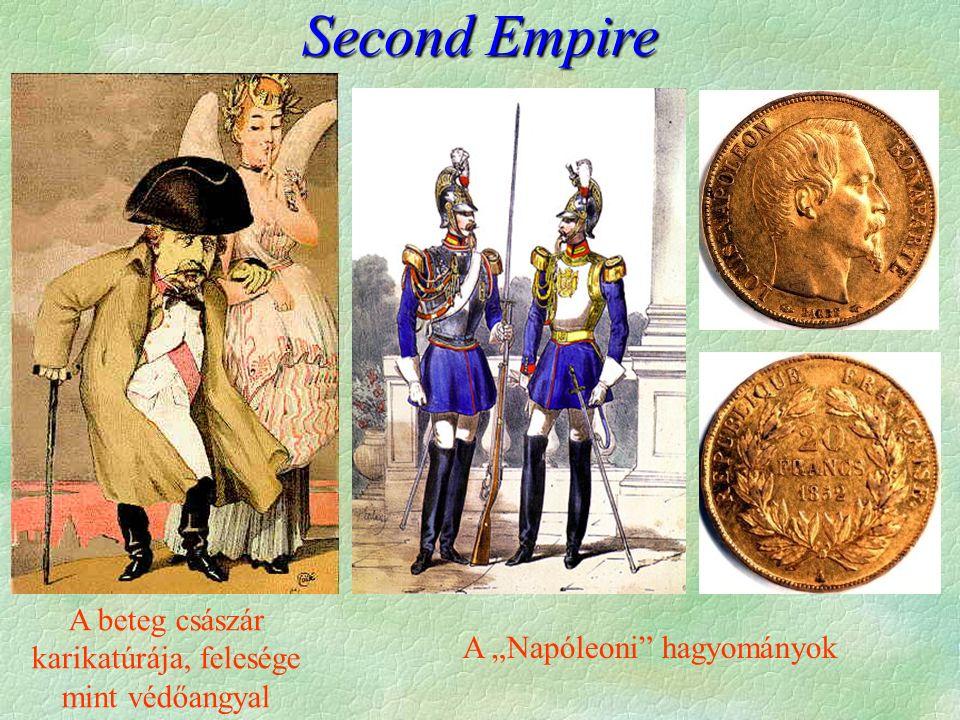"""Second Empire A beteg császár karikatúrája, felesége mint védőangyal A """"Napóleoni hagyományok"""