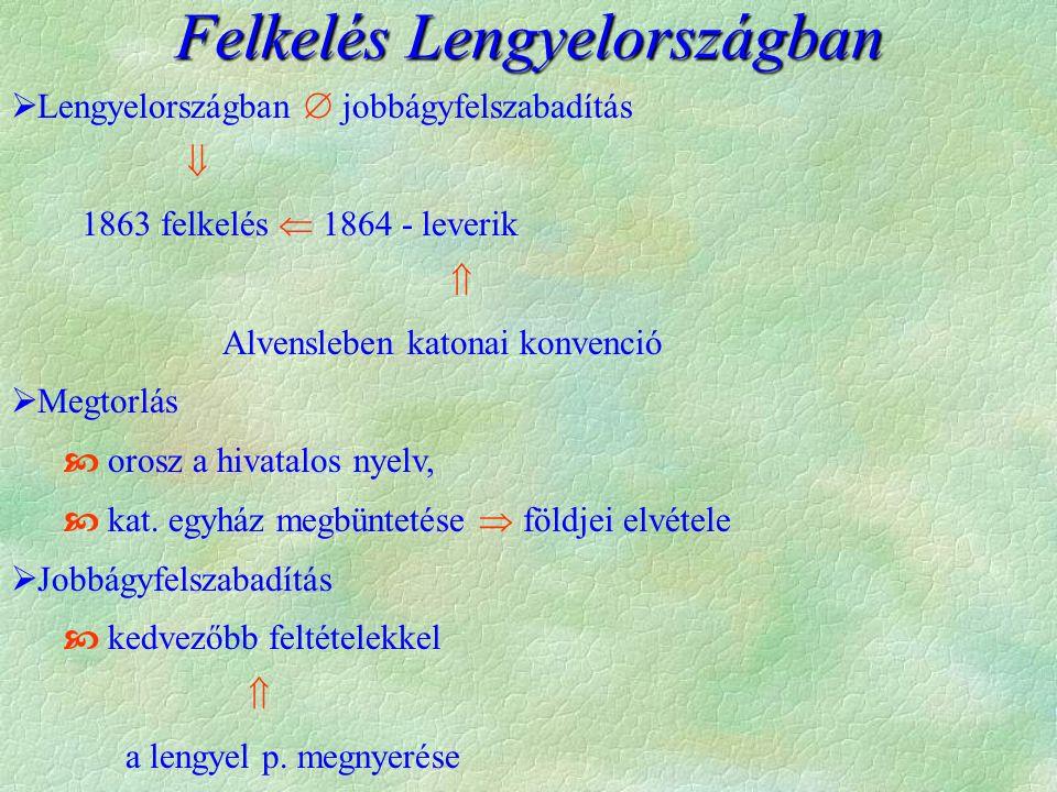  Lengyelországban  jobbágyfelszabadítás  1863 felkelés  1864 - leverik  Alvensleben katonai konvenció  Megtorlás  orosz a hivatalos nyelv,  kat.
