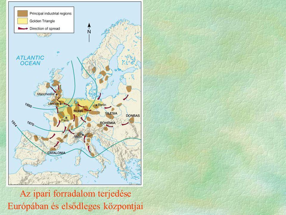 Az ipari forradalom terjedése Európában és elsődleges központjai
