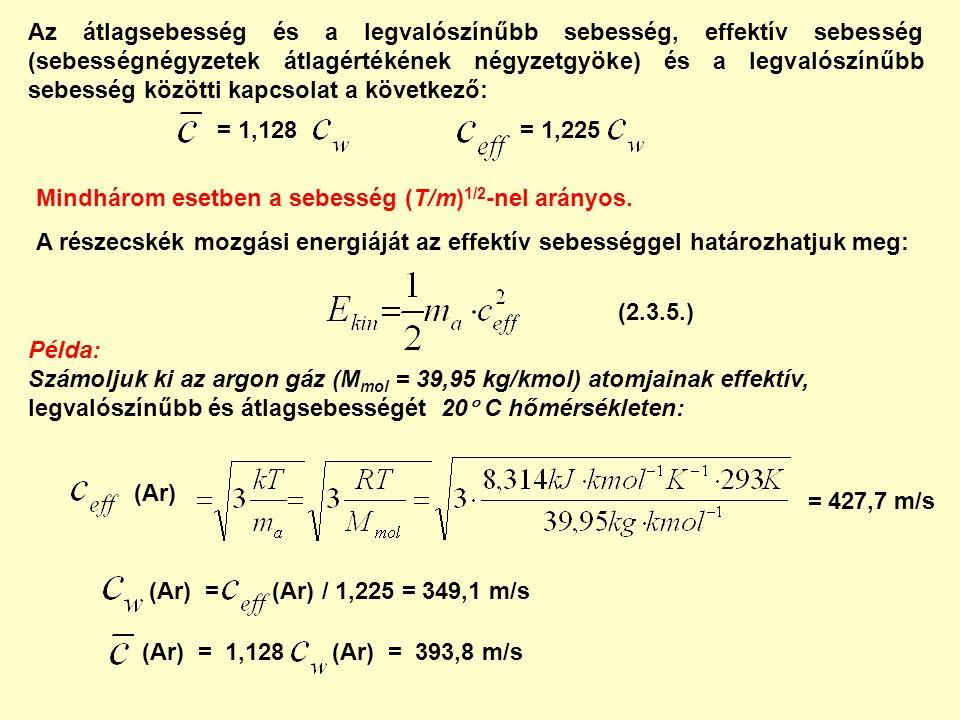 Mindhárom esetben a sebesség (T/m) 1/2 -nel arányos. A részecskék mozgási energiáját az effektív sebességgel határozhatjuk meg: = 1,128= 1,225 Az átla