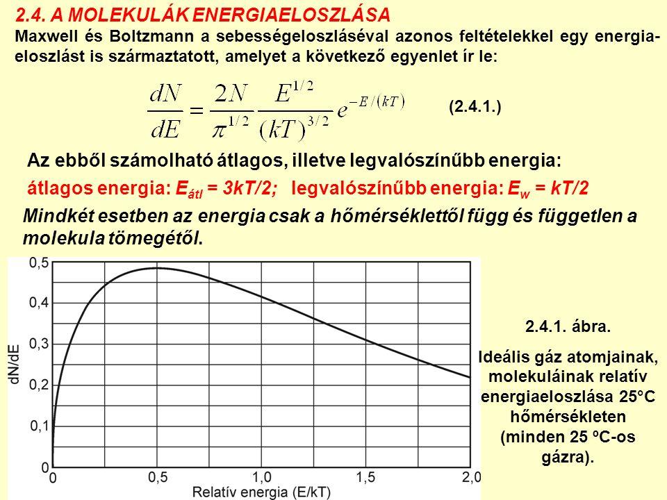 Bármely gázatom mozgási energiája: (nincs kitüntetett irány) = 3E 1 kin = A pontszerűnek tekintett gázrészecskének 3 szabadsági foka van, tehát szabadsági fokonként a gázrészecske átlagos kinetikus energiája (ekvipartíció elve): Ha a részecskék között nincs erőhatás, a teljes energia = teljes kinetikus energia = belső energia (U).