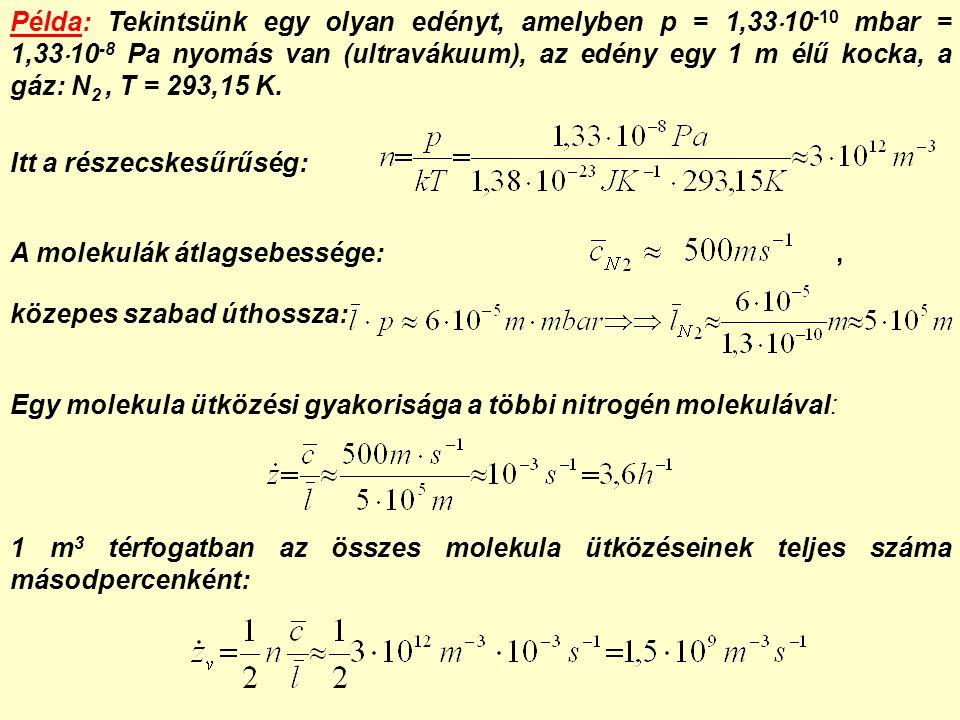 Példa: Tekintsünk egy olyan edényt, amelyben p = 1,33  10 -10 mbar = 1,33  10 -8 Pa nyomás van (ultravákuum), az edény egy 1 m élű kocka, a gáz: N 2, T = 293,15 K.