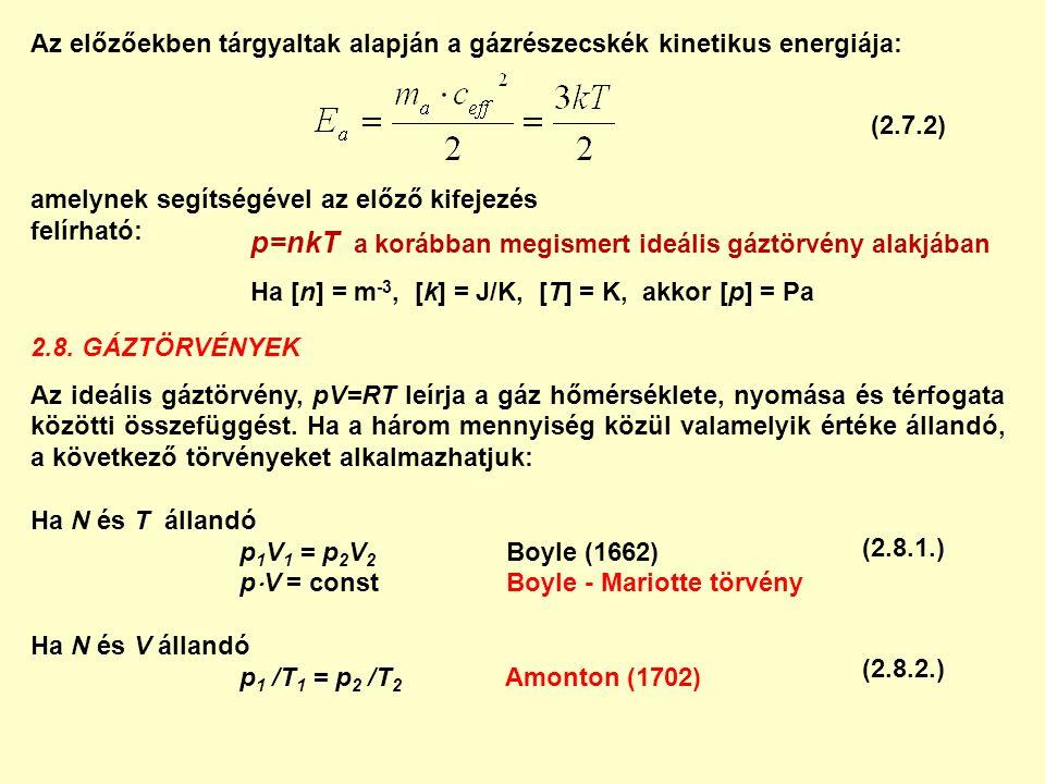Az előzőekben tárgyaltak alapján a gázrészecskék kinetikus energiája: amelynek segítségével az előző kifejezés felírható: p=nkT a korábban megismert i