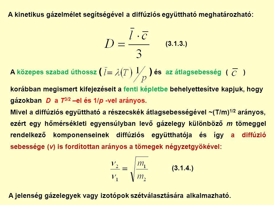 A kinetikus gázelmélet segítségével a diffúziós együttható meghatározható: A közepes szabad úthossz ( ) és az átlagsebesség ( ) korábban megismert kifejezéseit a fenti képletbe behelyettesítve kapjuk, hogy gázokban D a T 3/2 –el és 1/p -vel arányos.