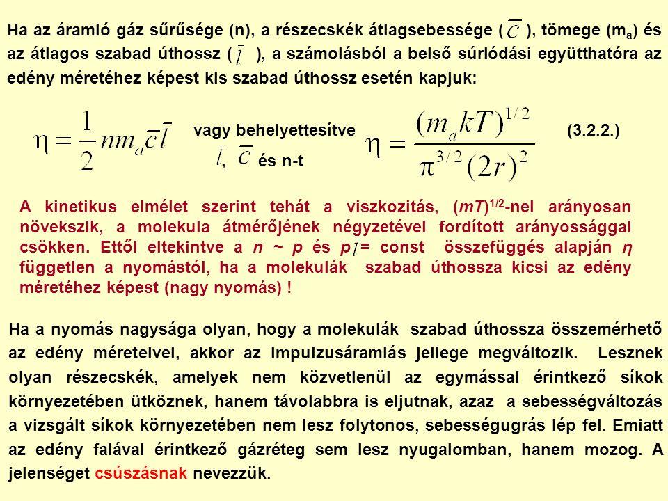 Ha az áramló gáz sűrűsége (n), a részecskék átlagsebessége ( ), tömege (m a ) és az átlagos szabad úthossz ( ), a számolásból a belső súrlódási együtthatóra az edény méretéhez képest kis szabad úthossz esetén kapjuk: vagy behelyettesítve, és n-t A kinetikus elmélet szerint tehát a viszkozitás, (mT) 1/2 -nel arányosan növekszik, a molekula átmérőjének négyzetével fordított arányossággal csökken.