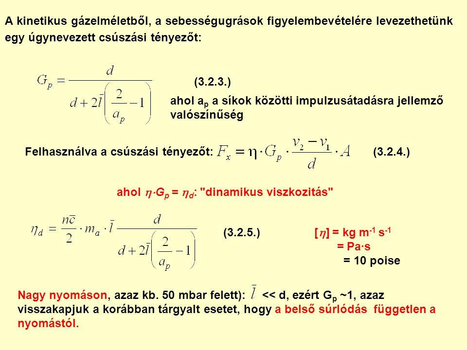A kinetikus gázelméletből, a sebességugrások figyelembevételére levezethetünk egy úgynevezett csúszási tényezőt: ahol a p a síkok közötti impulzusátadásra jellemző valószínűség Felhasználva a csúszási tényezőt: ahol  G p =  d : dinamikus viszkozitás [  ] = kg m -1 s -1 = Pa∙s = 10 poise Nagy nyomáson, azaz kb.