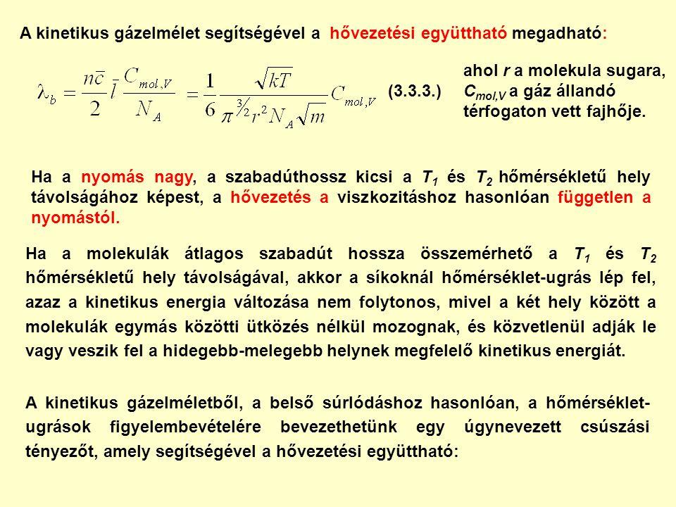 A kinetikus gázelmélet segítségével a hővezetési együttható megadható: ahol r a molekula sugara, C mol,V a gáz állandó térfogaton vett fajhője.