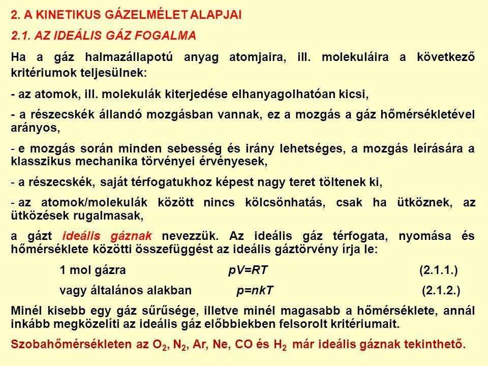 2. A KINETIKUS GÁZELMÉLET ALAPJAI 2.1.