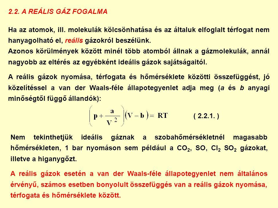 2.2. A REÁLIS GÁZ FOGALMA Ha az atomok, ill.