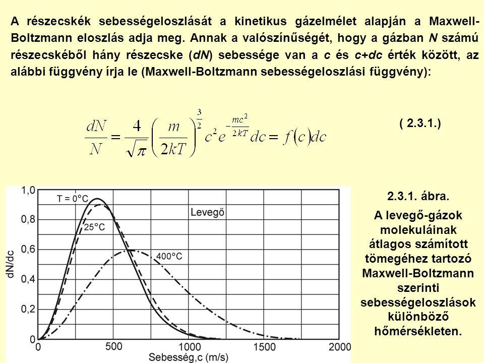 ( 2.3.1.) A részecskék sebességeloszlását a kinetikus gázelmélet alapján a Maxwell- Boltzmann eloszlás adja meg. Annak a valószínűségét, hogy a gázban
