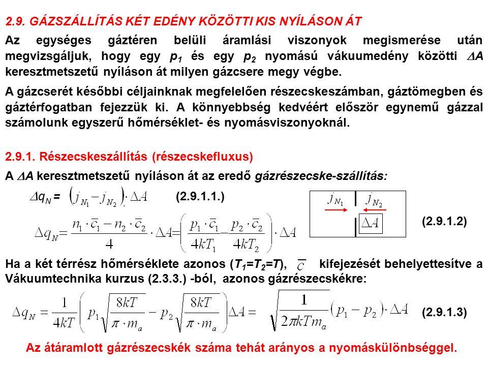 2.9. GÁZSZÁLLÍTÁS KÉT EDÉNY KÖZÖTTI KIS NYÍLÁSON ÁT Az egységes gáztéren belüli áramlási viszonyok megismerése után megvizsgáljuk, hogy egy p 1 és egy