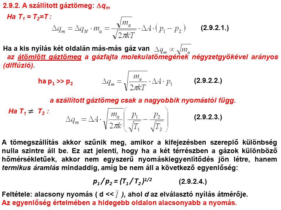 2.9.2. A szállított gáztömeg:  q m Ha T 1 = T 2 =T : ha p 1 >> p 2 a szállított gáztömeg csak a nagyobbik nyomástól függ. Ha T 1 T 2 : A tömegszállít