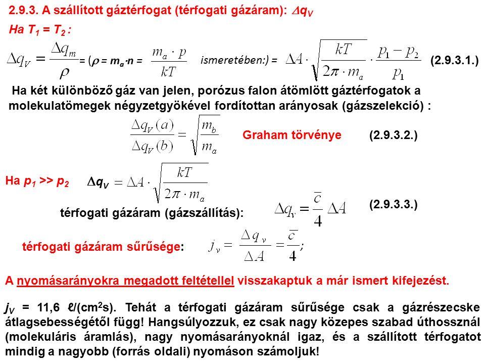 2.9.3. A szállított gáztérfogat (térfogati gázáram):  q V Ha T 1 = T 2 : = (  = m a  n = ismeretében:) = Ha p 1 >> p 2 qVqV térfogati gázáram (gá