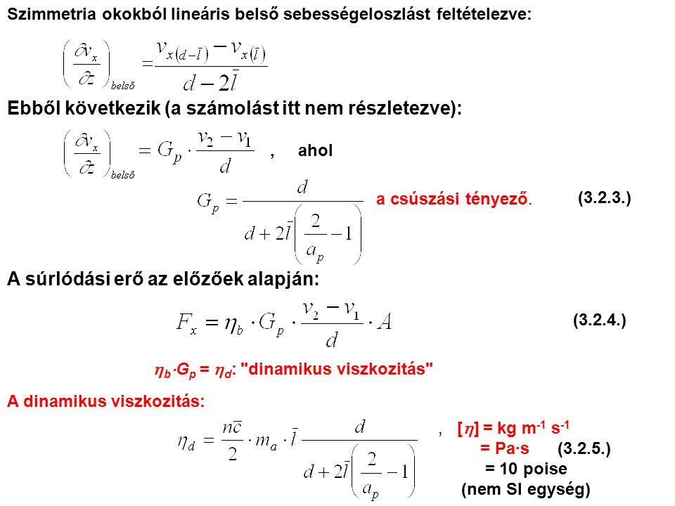 Szimmetria okokból lineáris belső sebességeloszlást feltételezve: Ebből következik (a számolást itt nem részletezve):, ahol a csúszási tényező.