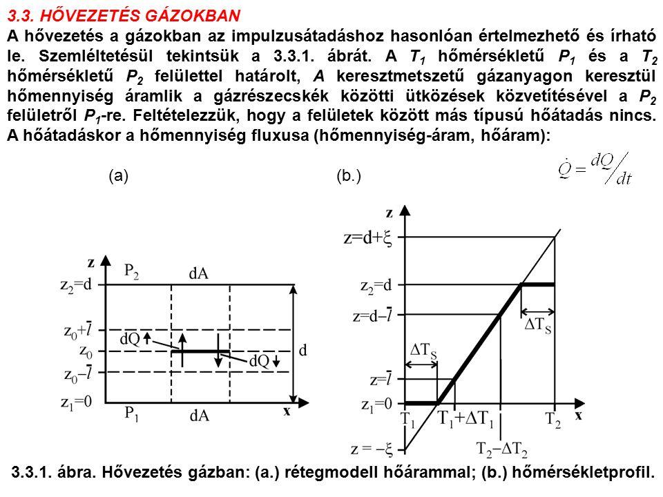 3.3. HŐVEZETÉS GÁZOKBAN A hővezetés a gázokban az impulzusátadáshoz hasonlóan értelmezhető és írható le. Szemléltetésül tekintsük a 3.3.1. ábrát. A T