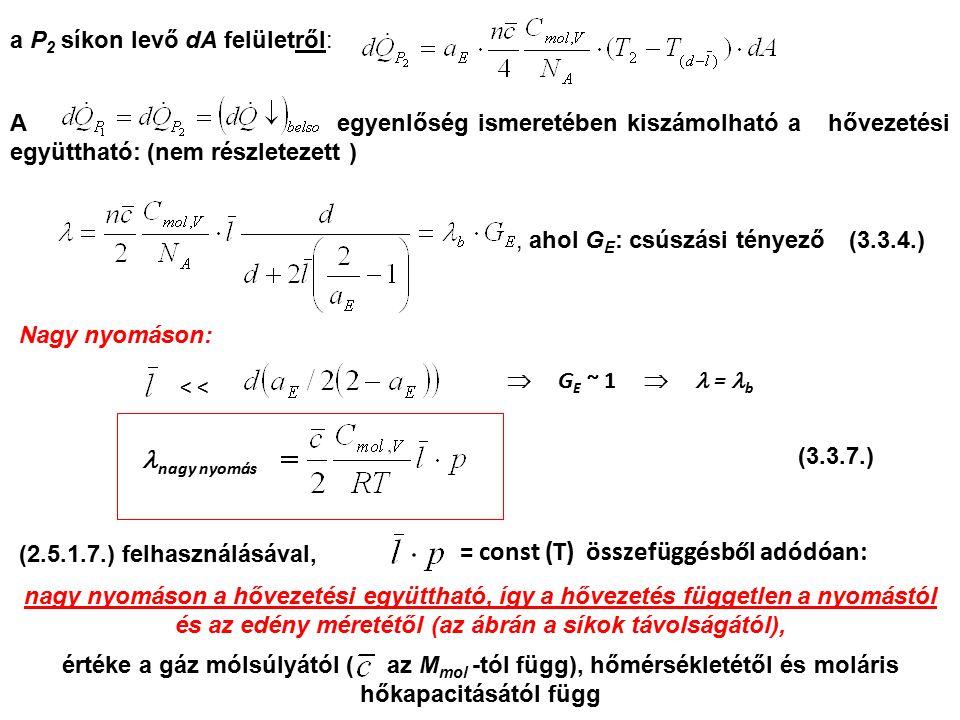 a P 2 síkon levő dA felületről: A egyenlőség ismeretében kiszámolható a hővezetési együttható: (nem részletezett ), ahol G E : csúszási tényező Nagy n