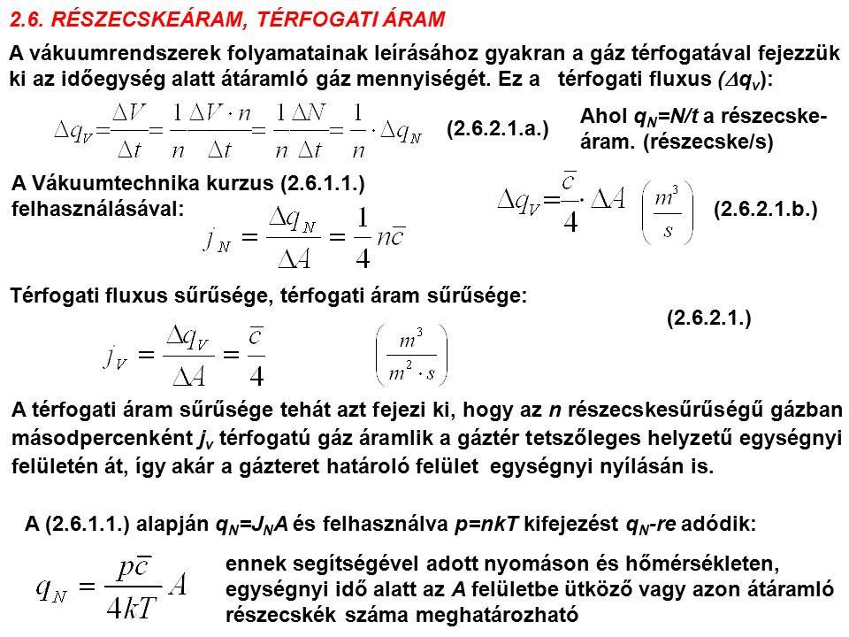 2.6. RÉSZECSKEÁRAM, TÉRFOGATI ÁRAM A vákuumrendszerek folyamatainak leírásához gyakran a gáz térfogatával fejezzük ki az időegység alatt átáramló gáz