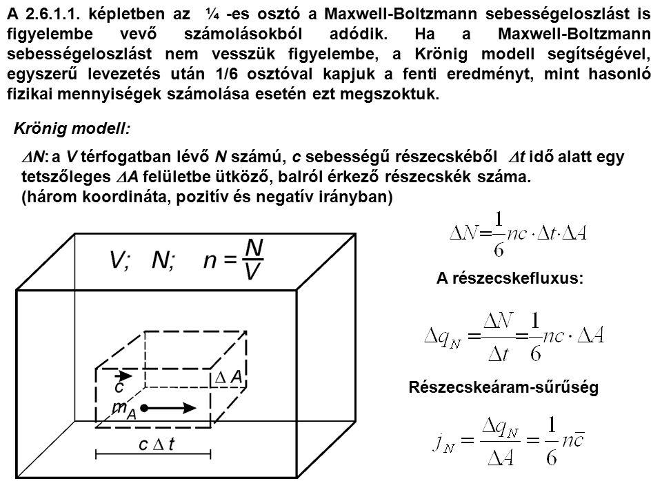 Krönig modell:  N: a V térfogatban lévő N számú, c sebességű részecskéből  t idő alatt egy tetszőleges  A felületbe ütköző, balról érkező részecskék száma.