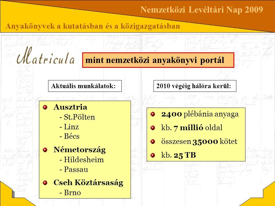 Nemzetközi Levéltári Nap 2009 Anyakönyvek a kutatásban és a közigazgatásban mint nemzetközi anyakönyvi portál Ausztria - St.Pölten - Linz - Bécs Német