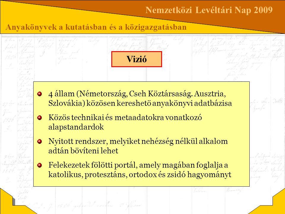 Nemzetközi Levéltári Nap 2009 Anyakönyvek a kutatásban és a közigazgatásban Vizió 4 állam (Németország, Cseh Köztársaság. Ausztria, Szlovákia) közösen