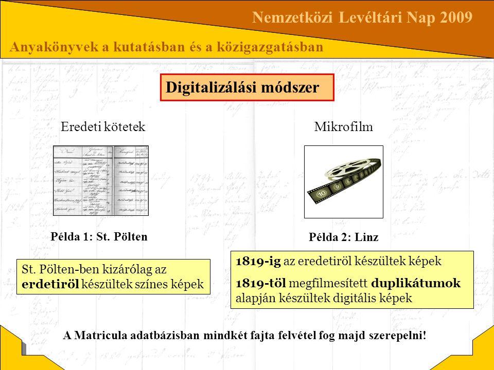 Nemzetközi Levéltári Nap 2009 Anyakönyvek a kutatásban és a közigazgatásban Digitalizálási módszer St. Pölten-ben kizárólag az erdetiröl készültek szí