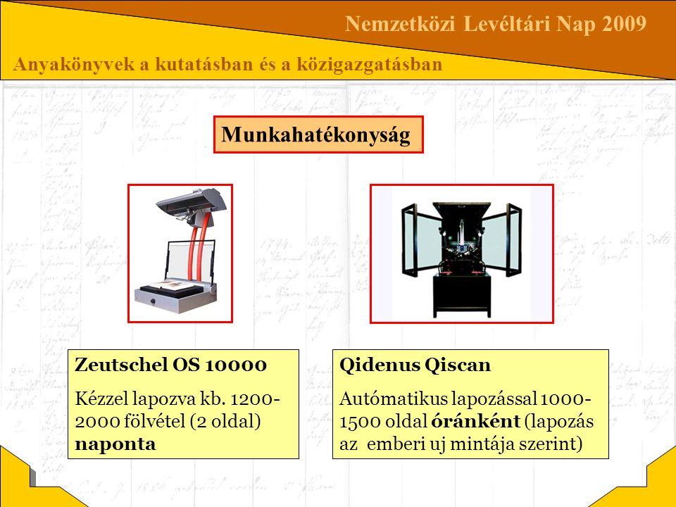 Nemzetközi Levéltári Nap 2009 Anyakönyvek a kutatásban és a közigazgatásban Munkahatékonyság Zeutschel OS 10000 Kézzel lapozva kb. 1200- 2000 fölvétel