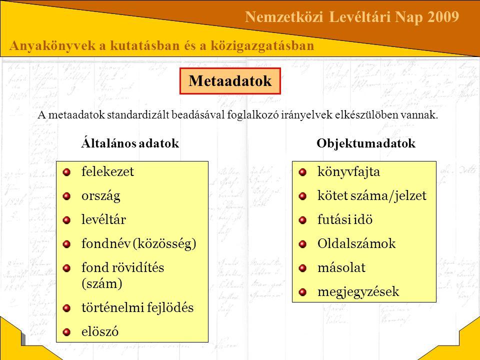 Nemzetközi Levéltári Nap 2009 Anyakönyvek a kutatásban és a közigazgatásban Metaadatok felekezet ország levéltár fondnév (közösség) fond rövidítés (sz