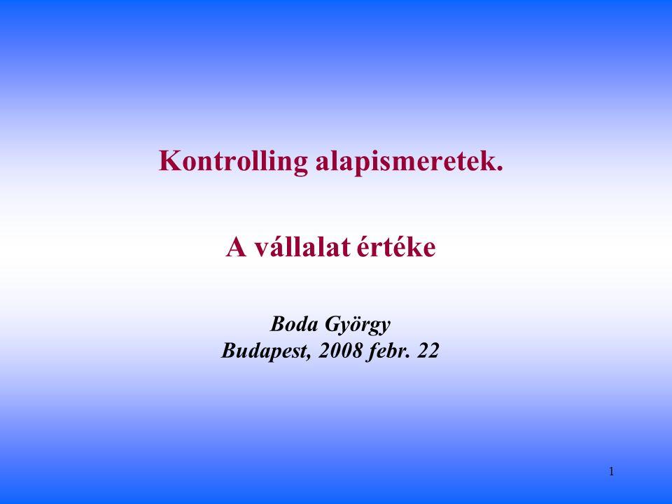 2 Számonkérés Tananyag: Boda György – Stocker Miklós – Szlávik Péter: Tervezés és Kontrolling, BCE Levelező Képzés, Budapest 2007 Egy kötelező zárthelyi: A zárthelyi áll 2 nagy kérdésből (egyenként 30 pont) és 8 kis kérdésből (egyenként 5 pont) Érdemjegy a zárthelyi pontszámok átlaga alapján: 2-es51 ponttól, 3-as61 ponttól, 4-es71 ponttól, 5-ös81 ponttól.