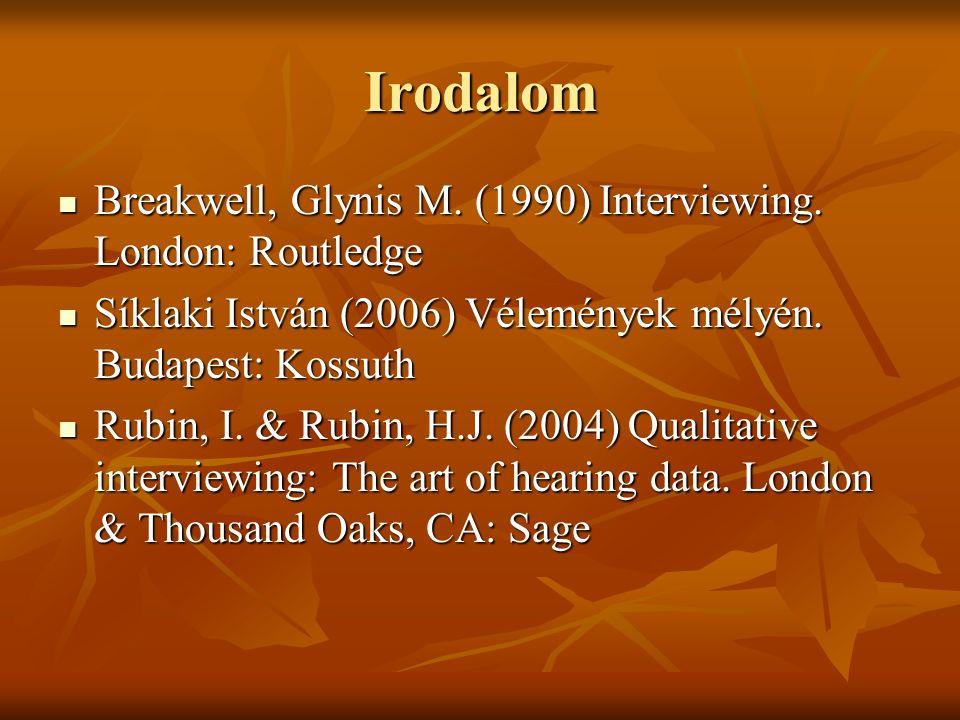 Irodalom Breakwell, Glynis M. (1990) Interviewing.